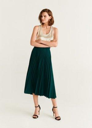 Плиссированная миди-юбка - Plisado Mango. Цвет: темно-зеленый