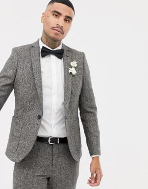 Серый приталенный пиджак с шевронным узором Twisted Tailor