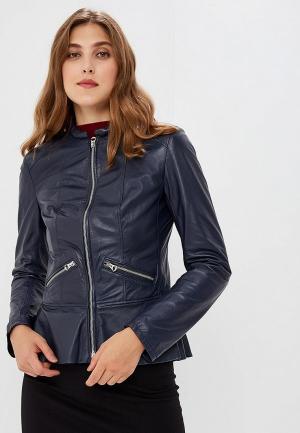 Куртка кожаная Ne.Ra Collezioni. Цвет: синий