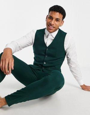 Зеленый супероблегающий фактурный жилет wedding-Зеленый цвет ASOS DESIGN
