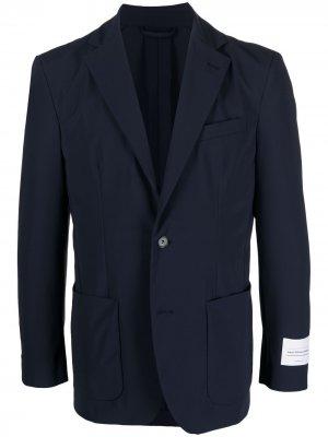 Однобортный пиджак с нашивкой-логотипом Traiano Milano. Цвет: синий