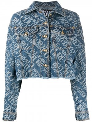 Джинсовая куртка с логотипом Versace Jeans Couture. Цвет: синий