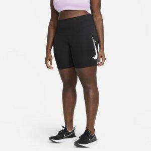 Женские беговые тайтсы Swoosh Run 18 см (большие размеры) - Черный Nike