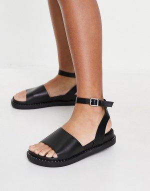 Черные сандалии на толстой подошве с ремешком щиколотке -Черный цвет Glamorous
