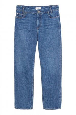 Синие прямые укороченные джинсы Sandro. Цвет: синий