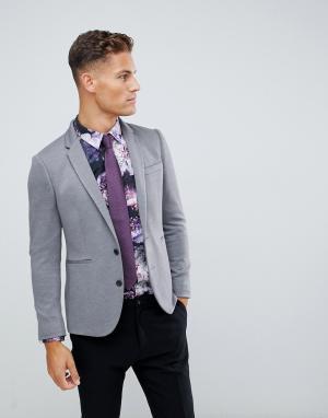 Серый блейзер из ткани пике Burton Menswear