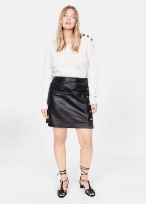 Кожаная юбка - Contrast Mango. Цвет: черный