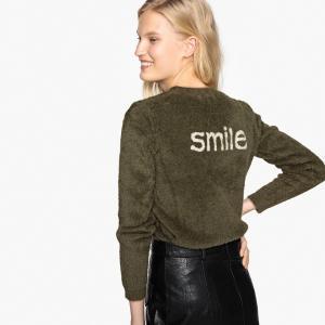 Пуловер с круглым вырезом контрастным принтом сзади SEE U SOON. Цвет: хаки