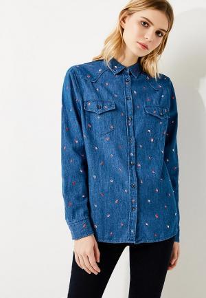 Рубашка джинсовая Boss. Цвет: синий