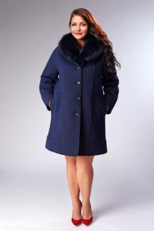 Пальто Violanti синего цвета на большой размер Visconf/Violanti. Цвет: синий
