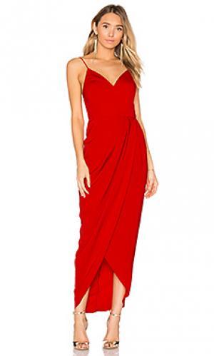 Коктейльное платье с драпировкой Shona Joy. Цвет: красный