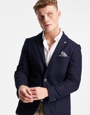 Темно-синий блейзер из фактурной ткани пике Burton Menswear