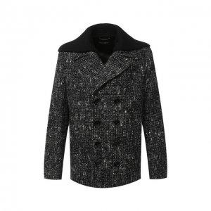 Шерстяной бушлат Dolce & Gabbana. Цвет: серый