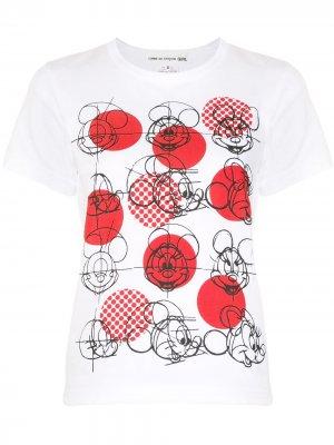 Футболка с принтом Mickey Mouse Comme Des Garçons Girl. Цвет: белый