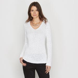 Пуловер из тонкого трикотажа с V-образным вырезом ANNE WEYBURN. Цвет: белый,желтый,темно-синий