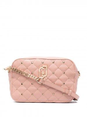 Стеганая сумка через плечо с заклепками LIU JO. Цвет: розовый