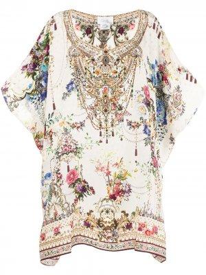 Платье с короткими рукавами и цветочным принтом Camilla. Цвет: белый