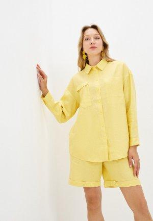 Рубашка UNQ. Цвет: желтый