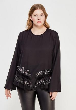 Блуза LOST INK PLUS SWING TOP WITH PU SEQUINS. Цвет: черный