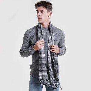 Мужской шарф в клетку SHEIN. Цвет: черный и белый