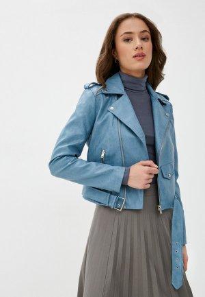 Куртка кожаная Euros Style. Цвет: голубой