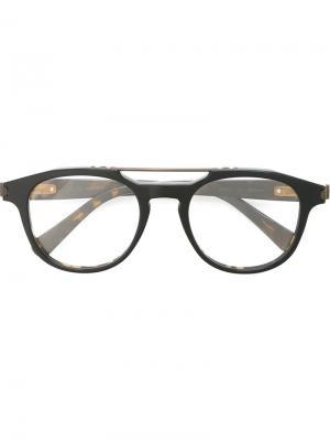 Оптические очки в круглой оправе Brioni. Цвет: чёрный