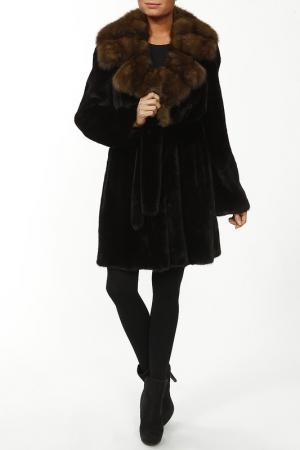 Пальто из норки Manakas. Цвет: черный