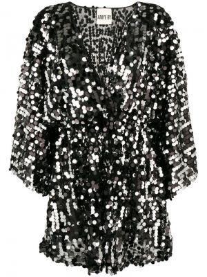 Платье прямого кроя с пайетками Aniye By. Цвет: черный
