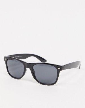 Черные солнцезащитные очки в стиле ретро -Черный Selected Homme