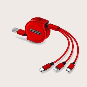Телескопический кабель для передачи данных 3 в 1 SHEIN. Цвет: красный