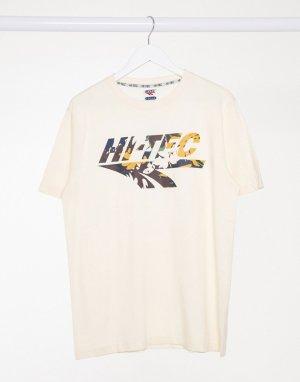 Футболка кремового цвета с большим камуфляжным логотипом -Белый Hi-Tec