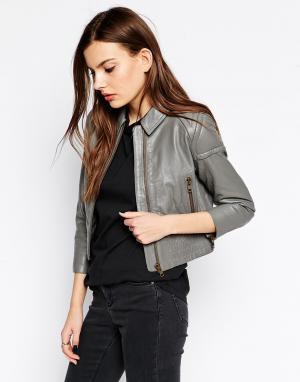Кожаная байкерская куртка Ganni. Цвет: серый