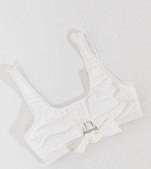 Эксклюзивный фактурный укороченный бикини-топ белого цвета с завязками для груди большого размера -Белый Peek & Beau
