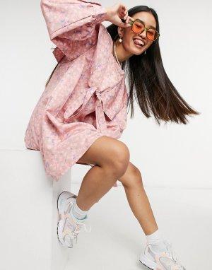 Платье мини с присборенной юбкой и большим воротником -Розовый цвет Little Sunny Bite