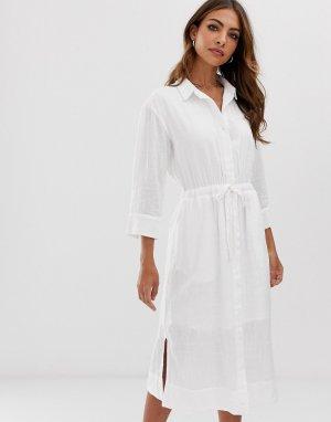 Белое платье-рубашка миди с поясом и разрезами по бокам -Белый Esprit
