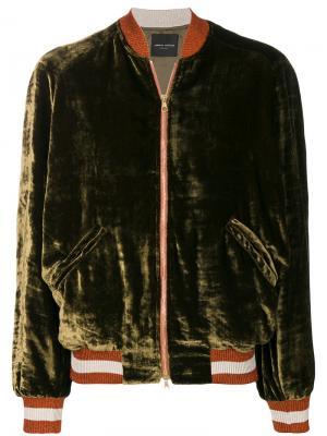 Бархатная куртка-бомбер Roberto Collina. Цвет: зелёный