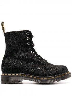 Ботинки с блестками на шнуровке Dr. Martens. Цвет: черный