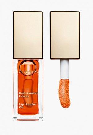 Блеск для губ Clarins масло, Lip Comfort Oil, 05 tangerine, 7 мл. Цвет: оранжевый