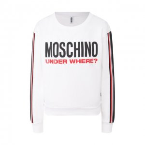 Хлопковый свитшот Moschino Underwear Woman. Цвет: белый