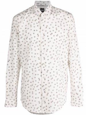 Рубашка с длинными рукавами и принтом BOSS. Цвет: нейтральные цвета