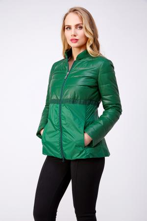 Приталенная комбинированная весенняя куртка из Италии AFG. Цвет: зеленый