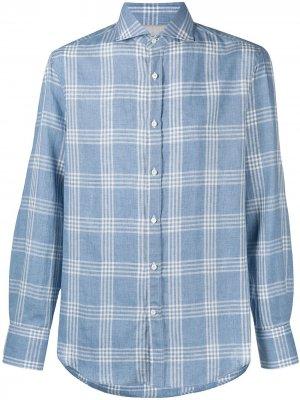 Клетчатая рубашка с косым воротником Brunello Cucinelli. Цвет: синий