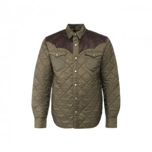 Куртка с кожаной отделкой RRL. Цвет: хаки