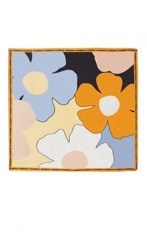 Платок С Крупными Цветами Синий 103 Stradivarius. Цвет: синий