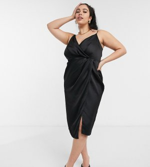 Черное атласное платье с запахом -Черный цвет Little Mistress Plus