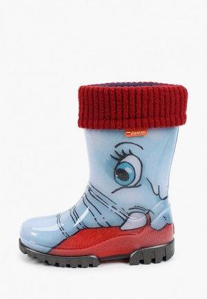 Резиновые сапоги Demar. Цвет: голубой