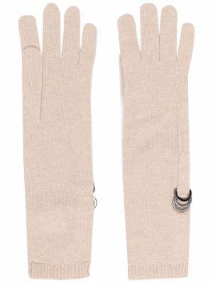 Ring-embellished knitted gloves Brunello Cucinelli. Цвет: c7961 beige