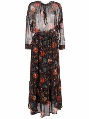 Floral-print tie-neck dress 8pm. Цвет: черный