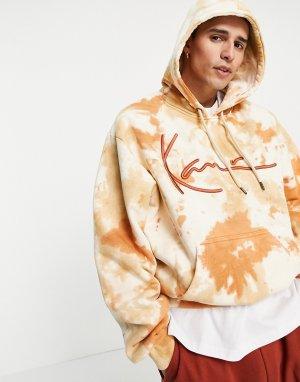 Разноцветный oversized-худи с принтом тай-дай и логотипом -Белый Karl Kani