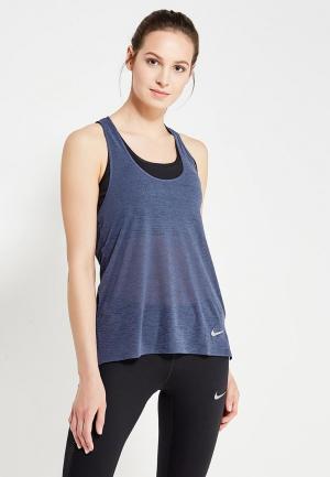 Майка спортивная Nike W NK BRTHE TANK COOL. Цвет: синий